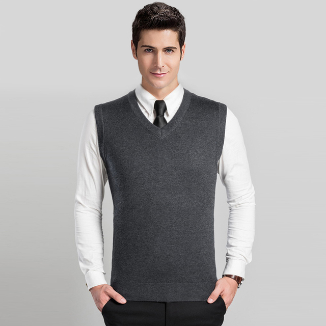 efb413fb6d High Quality Autumn Winter Sleeveless V neck Classic Solid Color Vest Men s Wool  Sweater