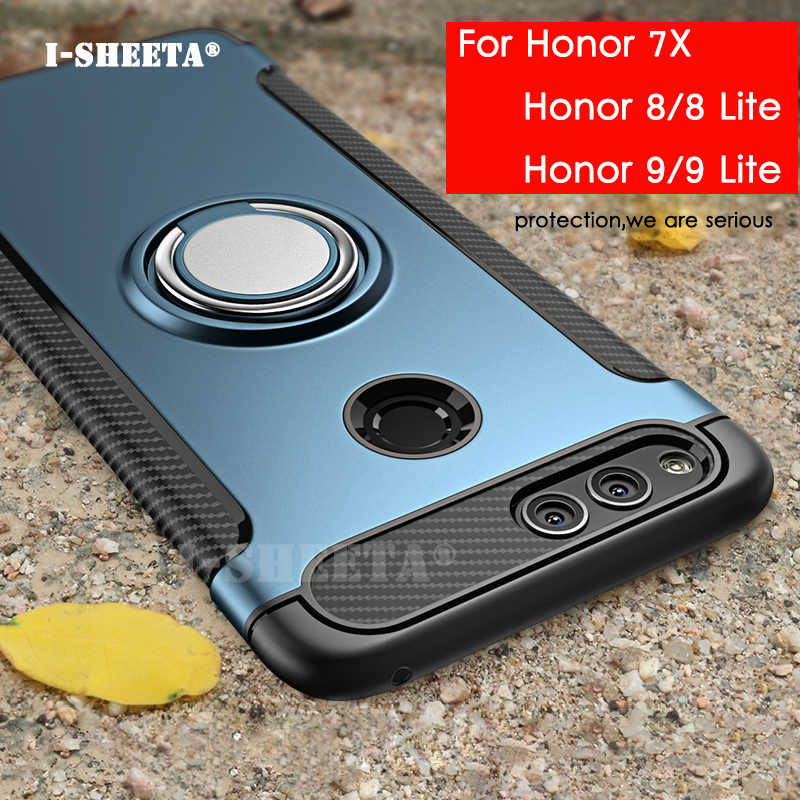 For Huawei Honor 7X 8 9 Lite 360 Magnetic Ring Holder Stand Matte Hard PC Soft TPU Bumper Cover Case For Huawei P8 P9 Lite 2017