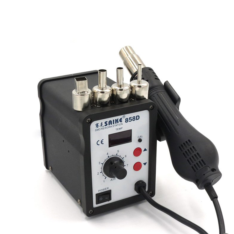 Free shipping Desoldering Tool Hot Air Station Saike 858D SMD Rework station Hot Air Gun 700W 220V or 110V Soldering working