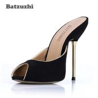 Batzuzhi 2018 Newest Women High Heel Sandal Shoes Summer Slingback Black Leather Shoes Women Open Toe