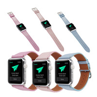 Fashion 38/42mm Apple Watchband for Women Genuine Leather Replacement Wrist Strap with Adapters for iWatch Band AMS Glitter Band