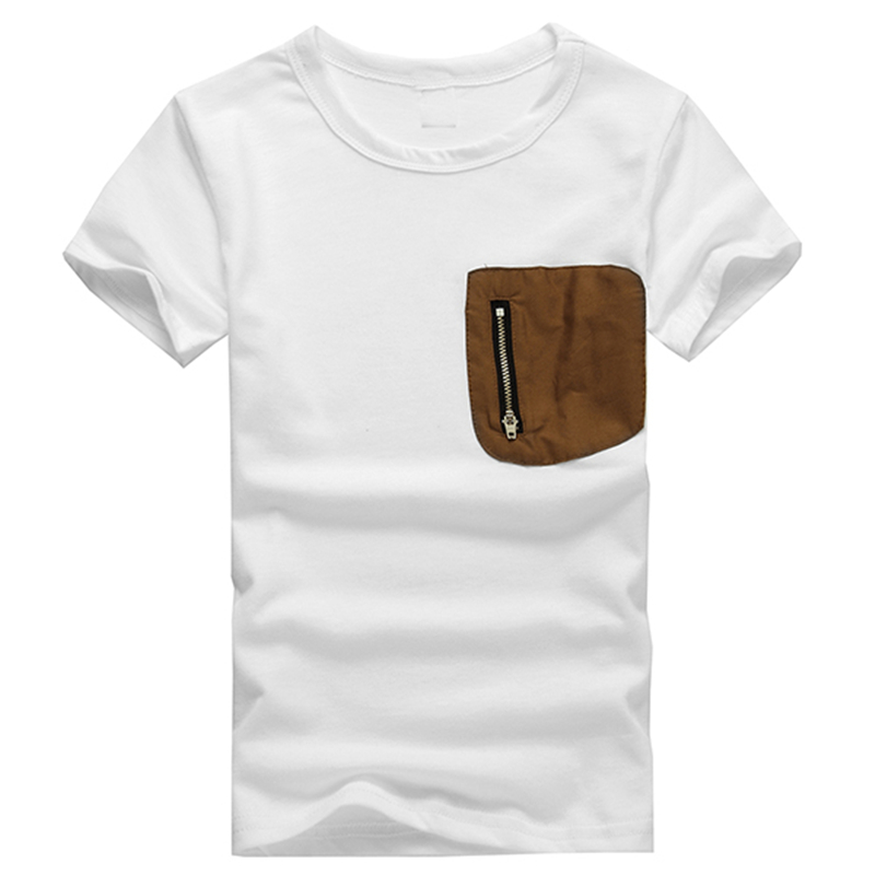 Summer White Short-sleeved T-shirt For Kids Boy Single Pocket Zipper Cotton Tees 1-6T