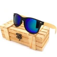 Gafas de sol mujer BOBO pájaro okulary hombres polarizadas patas de bambú negro marco cuadrado Vintage oculos gafas de sol femenino C CG004