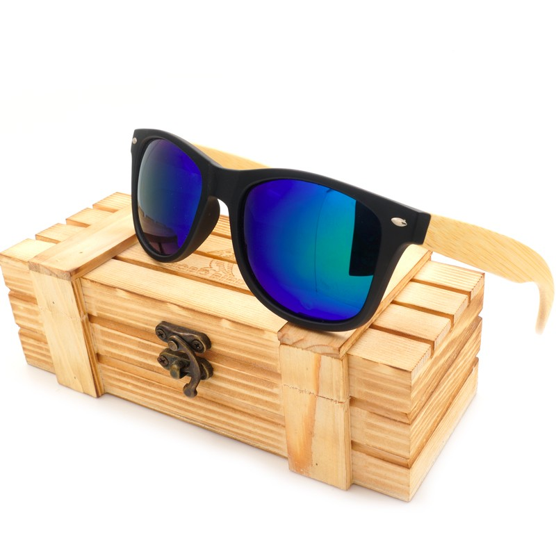 Sunglasses Women BOBO BIRD okulary Men Polarized Bamboo Legs Black Square Frame Vintage Glasses oculos de sol feminino C-CG004