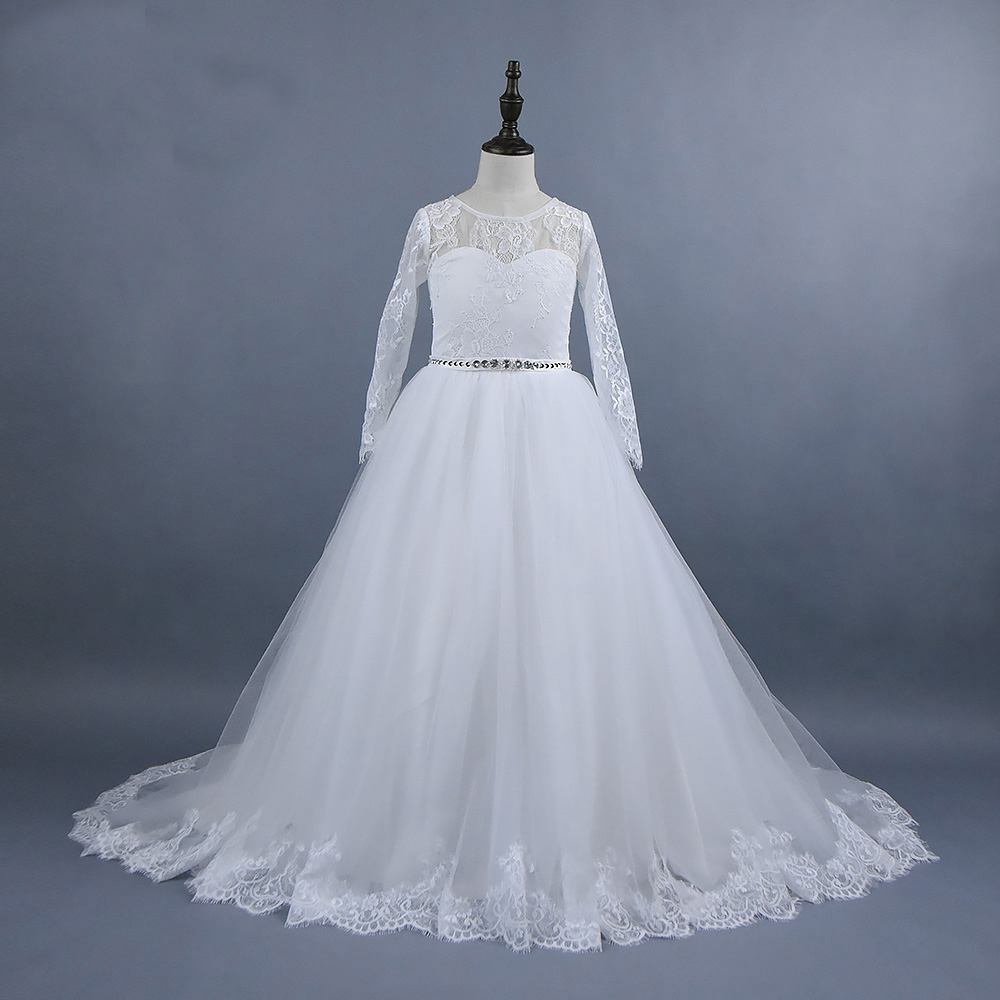 цена на Long Sleeve Flower Girls Dresses for Wedding White A-Line Lace First Communion Dr Ivroy Mother Daughter Dresses For Girls