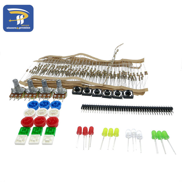 1LOT generic parts package Handy Portable Resistor Kit for Arduino Starter Kit UNO R3 LED potentiometer tact switch pin header
