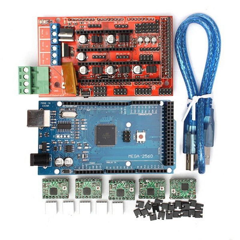 3D Printer RAMPS 1.4 Controller + MEGA2560 R3 + A4988 With Heat Sink Kit, Reprap