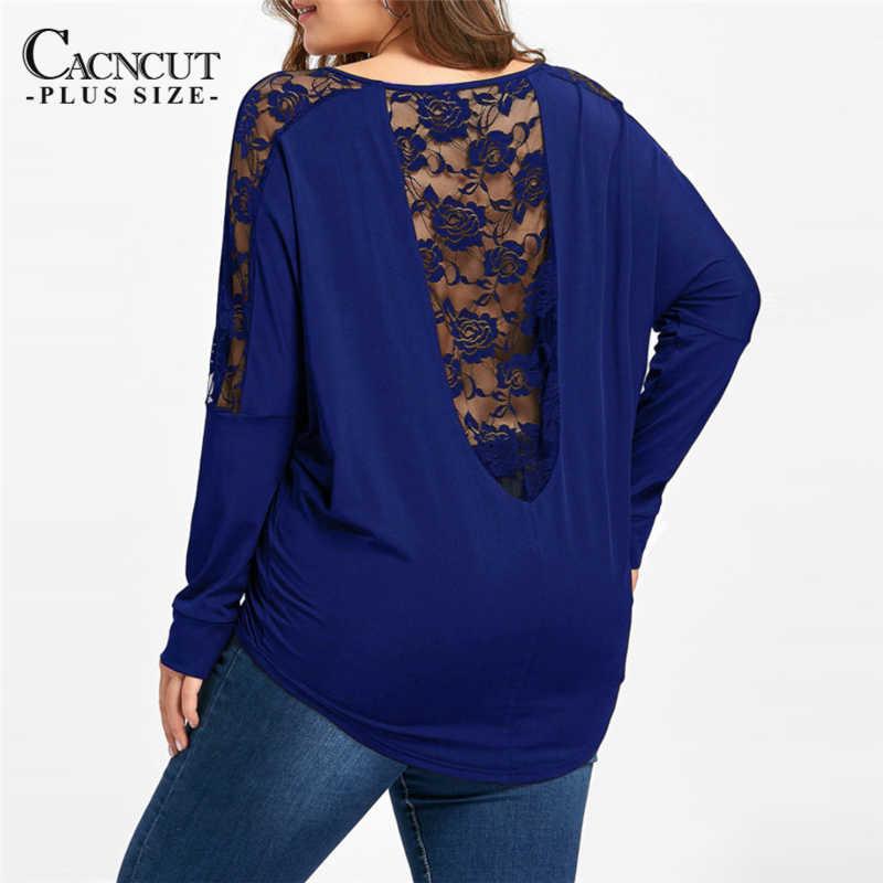 2018 新カジュアルプラスサイズの女性のtシャツ長袖セクシーなバックアウト中空レースパッチワークトップス春黒 4XL 5XLビッグサイズのシャツ