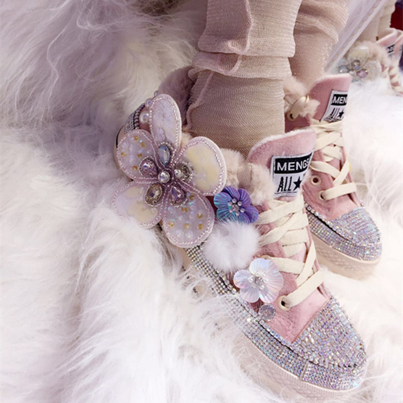 9aa7aa6f04e Plush Canvas Women Shoes Casual Crystal Beaded Vulcanize for Party Banquet  Girls Lady Student Gift-ideal Flats Sneakers