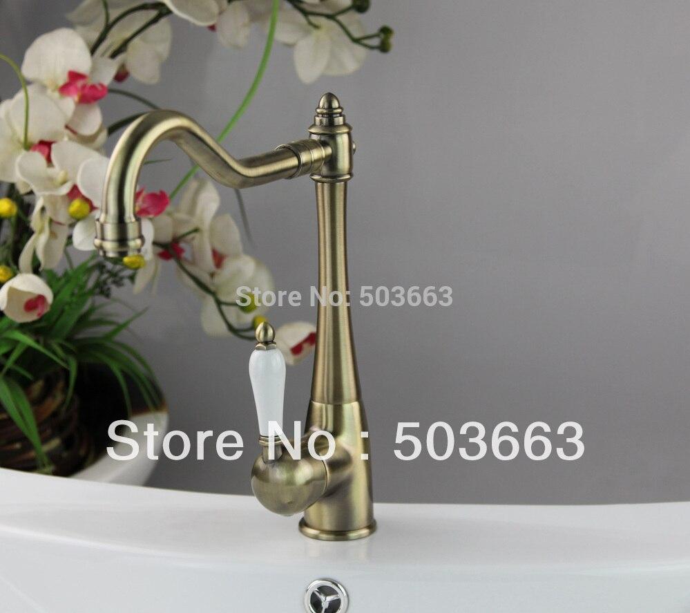 Antique Bronze Finish Mixer Single Hole Set Kitchen Sink Faucet Vessel Tap D 0116 Mixer Tap