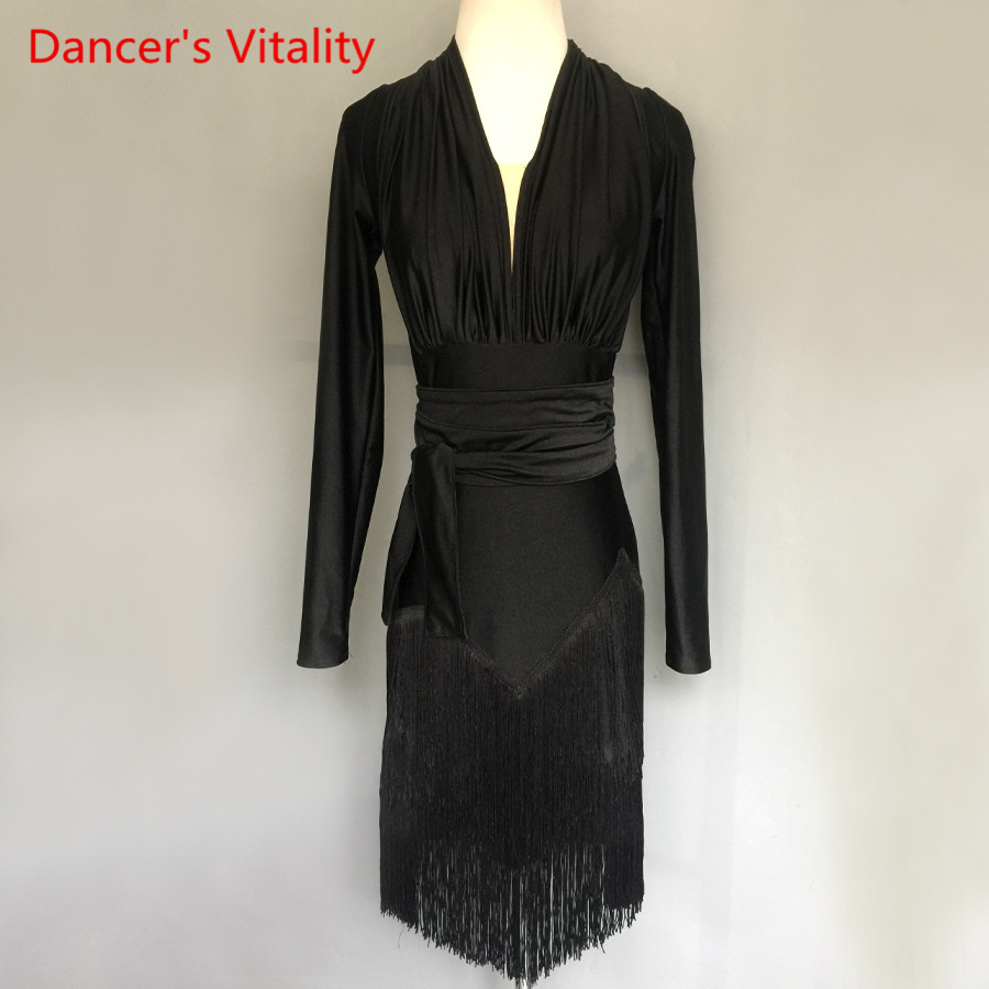Adult/Kids Latin Dance Dress Performance Clothes Long Sleeves Tassel Dresses Women Girls Latin Dance Competition Costume