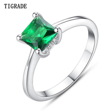Tigrade Brand New Design Elegant Rhombic Good Quality Zircon Ring 925 Sterling Silver Engagement Rings Jewelry For Women