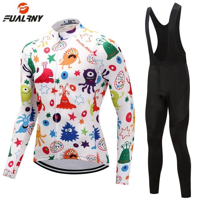 FUALRNY Men Women Cycling Clothing Long Sleeve Cycling Jersey Set for Boys Girls Kids MTB Bike Bicycle Ropa Children Bike Wear