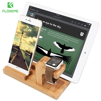 FLOVEME Mini Bambu Suporte de Estação De Carregamento Doca Berço Carregador Do Telefone Móvel Stand Titular Para o iphone 7 6 6 S Plus 5 5S SE iWatch