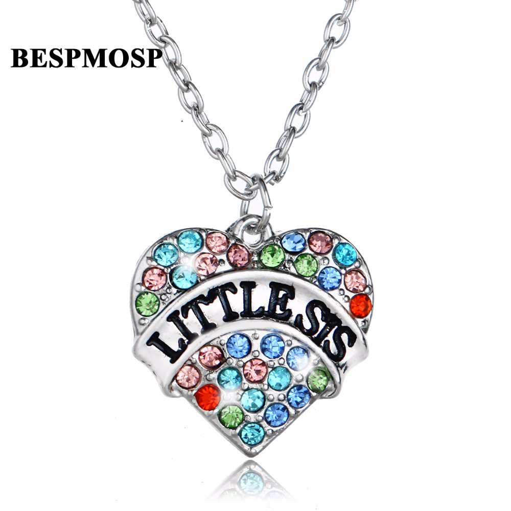 Bespmosp 24PCS/Lot Wholesale Little Sis Multi-Colored Crystal Pendant Necklace Fashion Women Sis Jewelry Gift For Family Girl