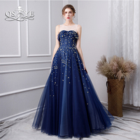 QSYYE 2019 Blue Long Prom Dresses with Gold Stars Illusion Neck Sleeveless Floor Length Tulle Formal Evening Dress Party Gown