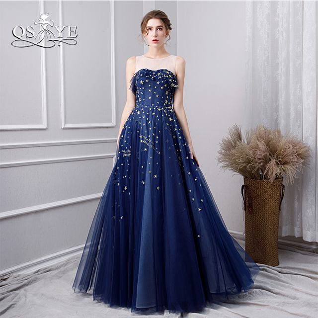 92eba67edf83 QSYYE 2019 Blue Long Prom Dresses with Gold Stars Illusion Neck Sleeveless  Floor Length Tulle Formal Evening Dress Party Gown