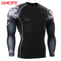 Men Tight Top Base Layer Long Sleeve T Shirt Tops Muscle Men Fitness Running Print Tees