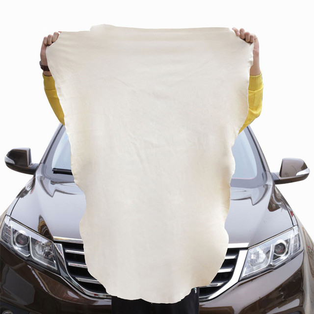 1pc Natural Elastic Shammy Chamois Leather Car Cleaning Towels Irregular Free Shape Drying Washing Care Polishing Cloth 45x60cm