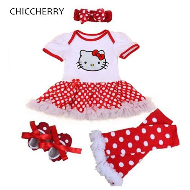 Hello kitty bebê ropa de bebe de menina roupas de verão rendas tutu romper dress headband crib shoes legwarmers 4 pcs meninas roupas conjuntos