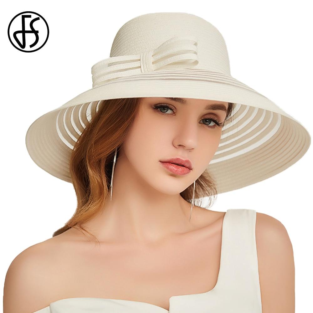 2eb29121cee58 Detail Feedback Questions about FS 2019 Summer Ladies Floppy Foldable Straw  Hats With Big Bow Wide Brim Beach Cap Beige Women Sun Visor Hat Chapeu  Feminino ...