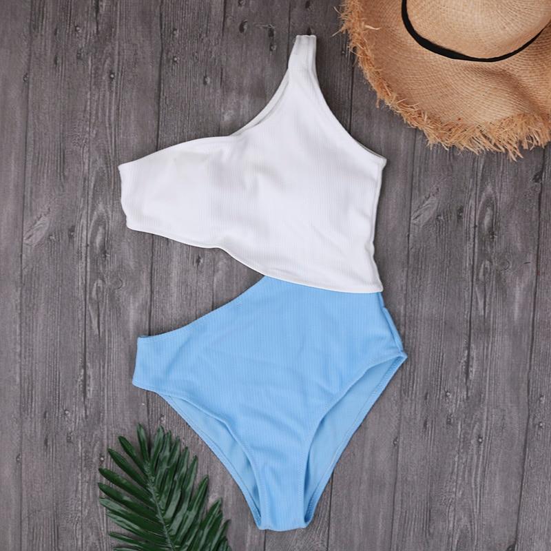 One Shoulder Monokini Female Cut Out One Piece Swimsuit Girls 2018 Swimwear For Women Sexy Bodysuits