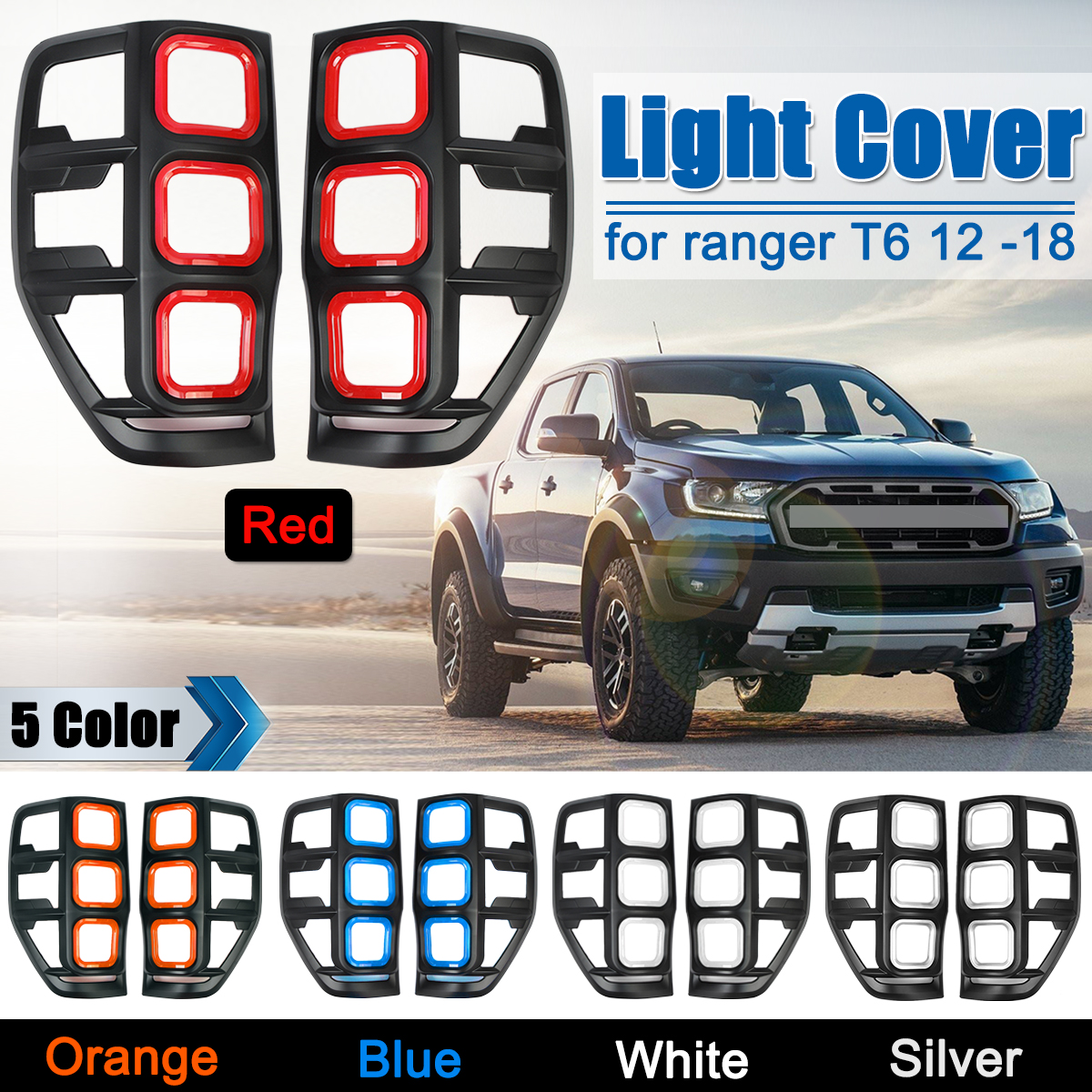 1Pair ABS Rear Light Covers Lampshade Without Light For Ford Ranger T6 2012-2018 Rear Tail Light Lamp Cover Accessories