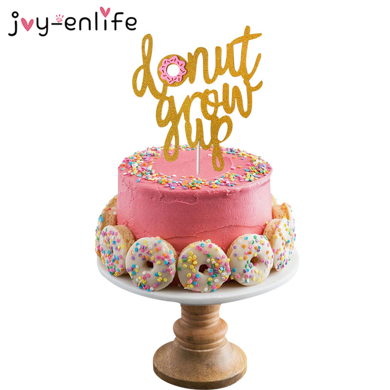 Pleasant 1Pcs Donut Grow Up Cake Topper Donut Decor Doughnut Themed Baby Funny Birthday Cards Online Alyptdamsfinfo