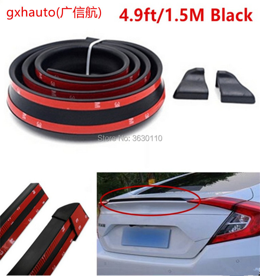 universal soft Rubber Soft Black Car Rear Spoiler35mm Width 1.5m Length Exterior Rear Spoiler Kit for suzuki SX4 S CROSS
