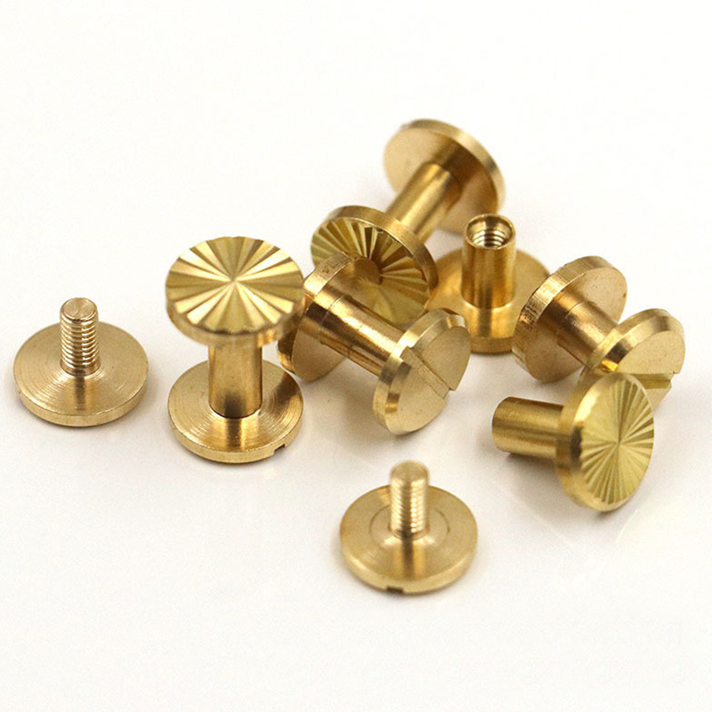 10pcs Solid Brass Binding Chicago Screws Nail Stud Rivets For Photo Album Leather Craft Studs Belt Wallet Fasteners 10mm Cap in Rivets from Home Improvement