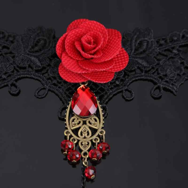 Thanh Lịch Phong Cách Kiến Trúc Gothic Phối Ren Màu Đỏ Hoa Hồng Vòng Tay Trang Sức Có Điều Chỉnh Nhẫn Cô Dâu Làm Cỏ Hợp Kim Trang Phục Hạt Bộ Trang Sức
