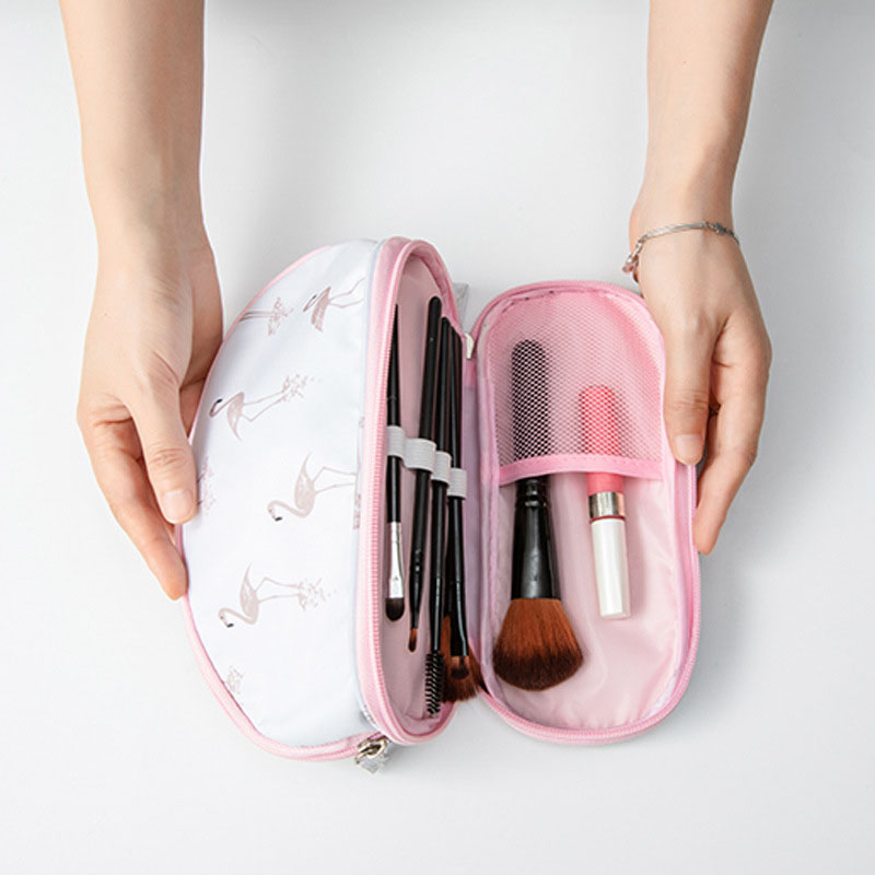 Hot Sale Portable <font><b>Makeup</b></font> Bag Brush Organizer Printed Zipper Travel Toiletry <font><b>Case</b></font> Cosmetic Bags for Women JLRS 2019 image