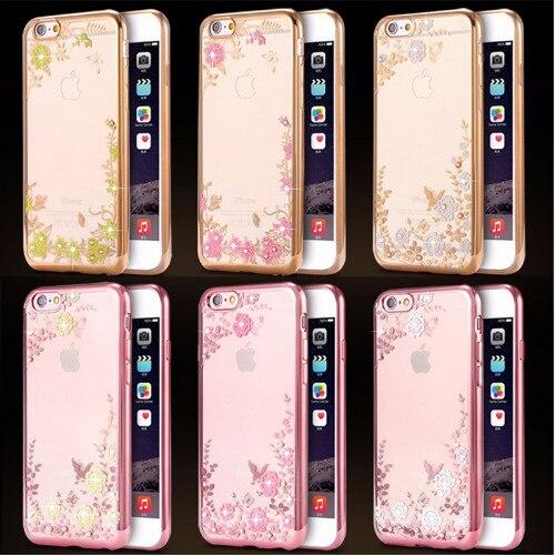 Flower Floral Rhinestone Clear iPhone Case