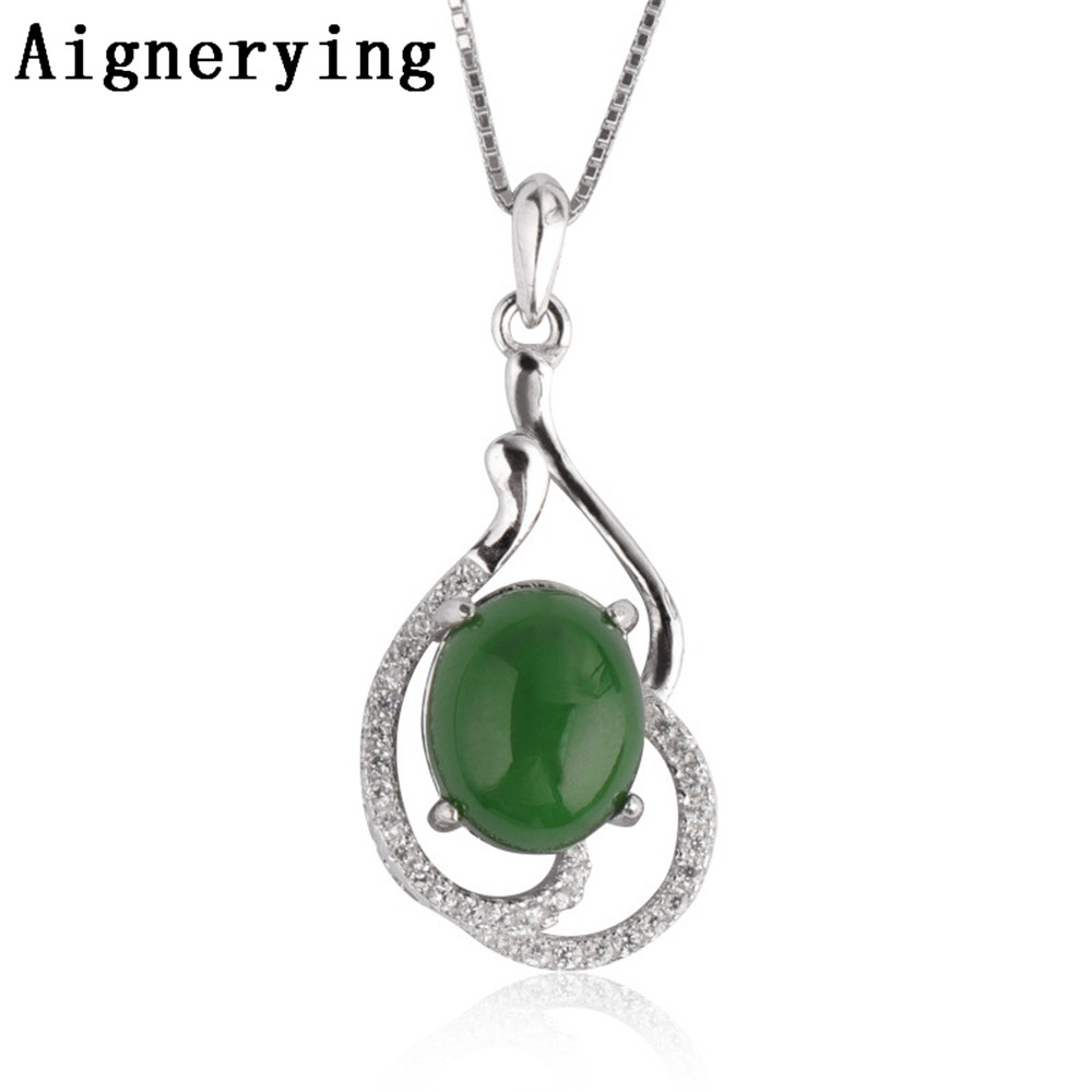 Vintage Certificate Necklace Craft 925 Silver Green Natural Jade Hollow Pendant Body Jewelry Zircon inlaid Porte Choker Gift BoxVintage Certificate Necklace Craft 925 Silver Green Natural Jade Hollow Pendant Body Jewelry Zircon inlaid Porte Choker Gift Box