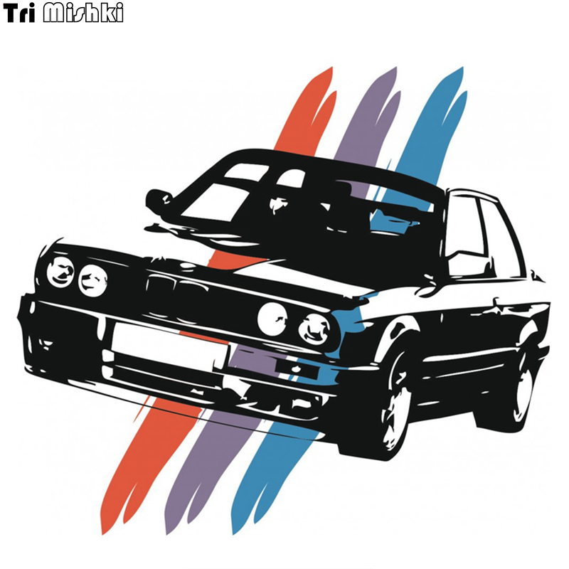 Tri Mishki WCS044 15*14cm For Bmw E30 Car Sticker Funny Colorful Auto Automobile Decals For Car Styling Accessories 3 Color Bar