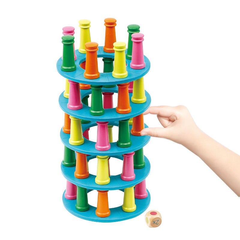 Nouveaux jouets en bois blocs de construction tour penchée de pise jeu jouet famille/fête drôle extrait blocs de construction Ludo jeu cadeaux