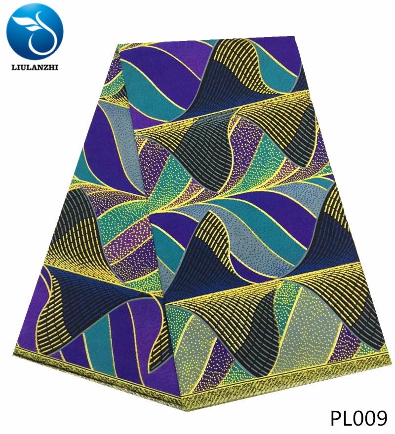 LIULANZHI polyester wax fabrics african nigerian bronzing for dresses 6yards ankara Batik PL001-1020