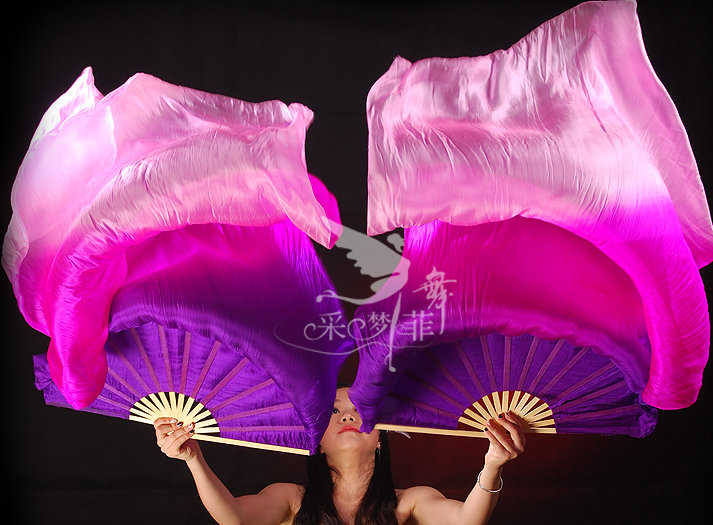 180cm Real Silk Belly Dance Fan Veils for Pair Purple Rose Pink many Colors