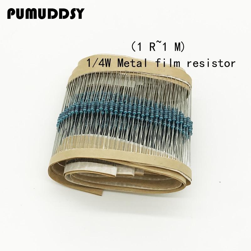 100pcs 1/4W Metal film resistor 1R ~ 1M 100R 220R 330R 1K 1.5K 2.2K 3.3K 4.7K 10K 22K 47K 100K 100 220 330 1K5 2K2 3K3 4K7 ohm 0 25w 1 4w 10k