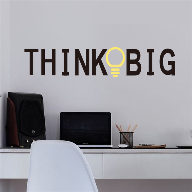 Think Big Inspirational Quotes Wall Decals for Office Study Room ...