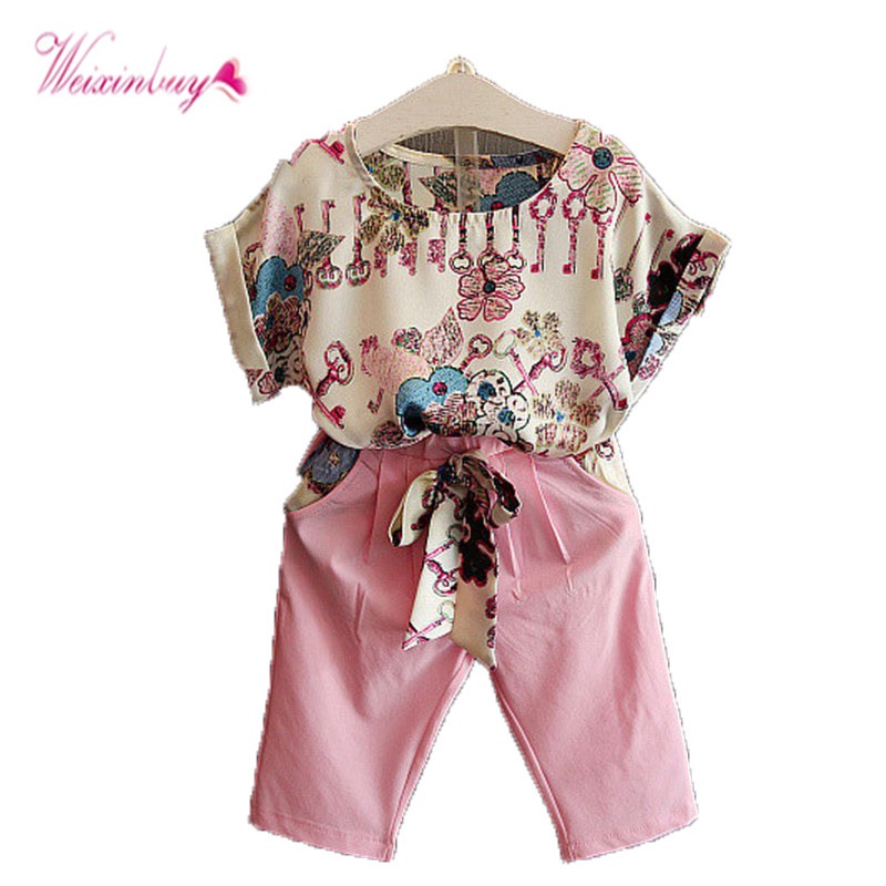 Summer Toddler Baby Girls Outfits Clothes Short Sleeve T-shirt Tops + Pants Shorts Clothing Set 2 cheecivan family matching outfits summer fashion colorful letter print short sleeve t shirt for toddler mother one piece dress