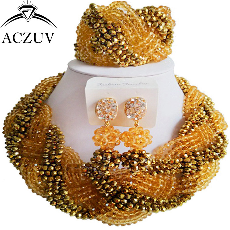 ACZUV dernière or Chamapgne or élégant ensembles de bijoux perles torsadées collier africain nigérian accessoires de mariage A12R011