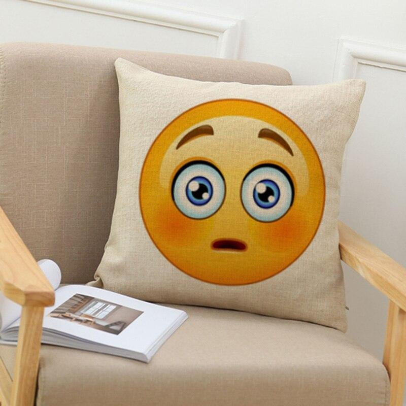 Новый современный QQ выражение печати хлопок белье Главная Декоративные талии наволочки hotel автомобиля спальня офисное кресло подушка cover45cm
