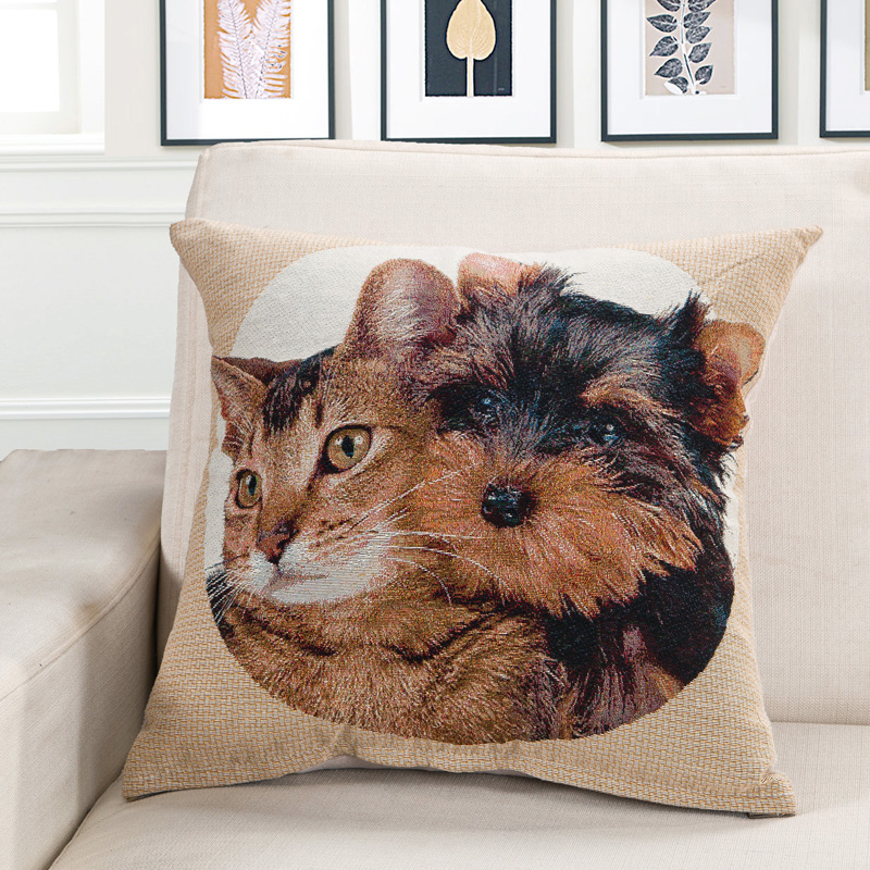 Cozzy Printed Animal ( Doggy & Cat Kitty) Cotton Linen Decor Accent Throw Pillow Case Home Sofa Cushion Cover Square 18X18 Inch