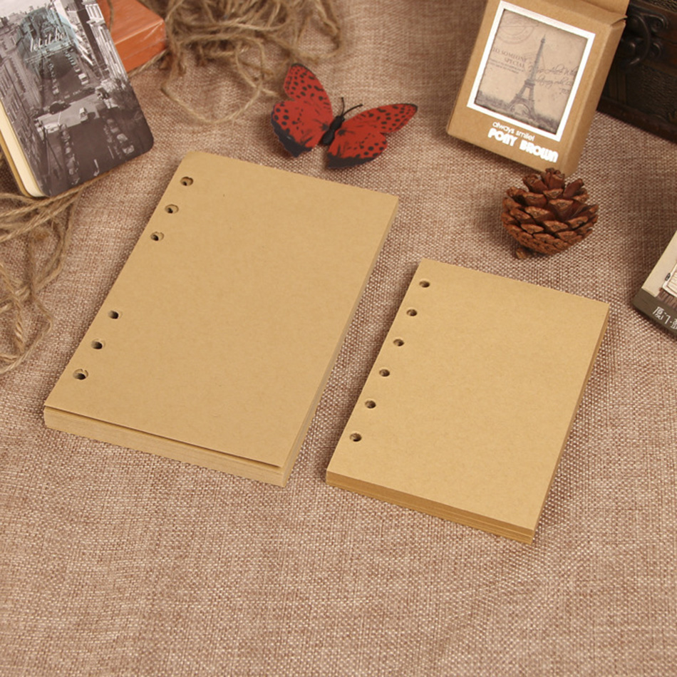 vintage notebook paper 6 ring binder 80 sheets blank kraft paper paper with lines A7 A6 notebook inner paper