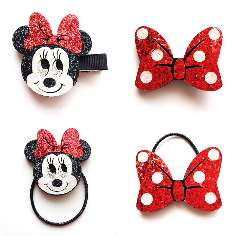 2pcs/lot Cartoon Hair Clips Felt Glitter Minnie Elastic Hair Bands Black Red Bow Hairpins Hair Rope for Girls Hair Accessories
