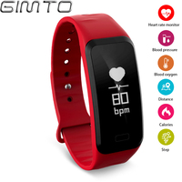 GIMTO Sport Inteligentny Zegarek Kobiety Siłownia Krokomierz Tętna Monitor Ciśnienia Krwi Tlenu Cyfrowego Zegarka kobiet Bransoletka Wodoodporny