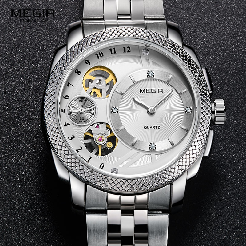 MEGIR Men's Steel Quartz Wrist Watches Fashion Waterproof Clock Relojes Decorative Mechanical Relogios Man 2091G-7