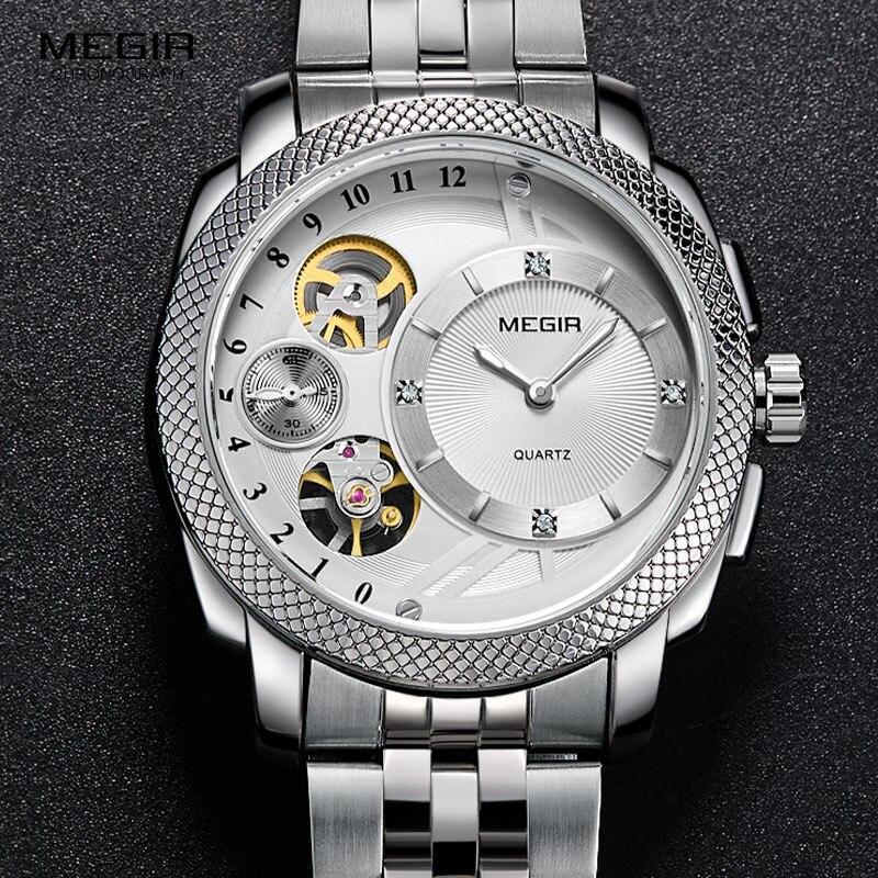 MEGIR montres à Quartz en acier pour hommes mode horloge étanche Relojes décoratif mécanique Relogios homme 2091G-7