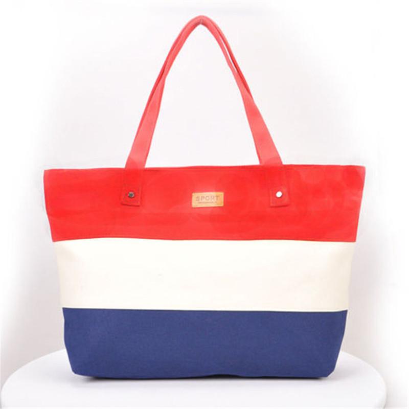 2017 New Mujer Summer Messenger Bag Beach Handbag Bags Brand Totes Women Ladies Stripes Canvas Shoulder Bag Drop Shipping N508 3